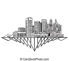 Baltimore, MD Skyline Black and white vector illustration...