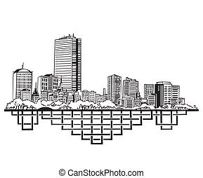 Boston, MA Skyline Black and white vector illustration EPS 8...