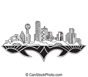 Dallas, TX Skyline Black and white vector illustration EPS 8...