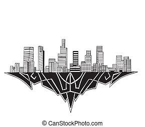 Los Angeles, CA Skyline. Black and white vector illustration...