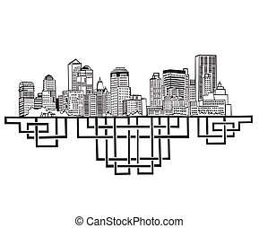 New York Skyline Black and white vector illustration EPS 8
