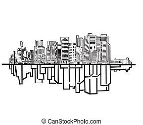New York Skyline. Black and white vector illustration EPS 8.