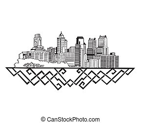 Philadelphia, PA Skyline Black and white vector illustration...