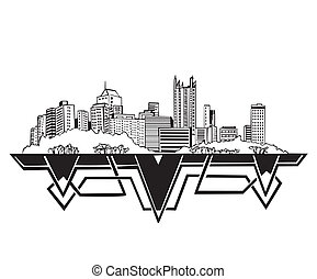 Pittsburgh, PA Skyline Black and white vector illustration...