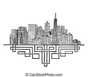 San Francisco, CA Skyline. Black and white vector...