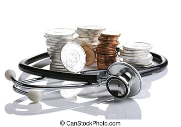 Financial health, stethoscope weaving around stack of silver...