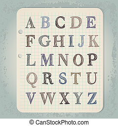hand drawn abc letters on wintage notepad background
