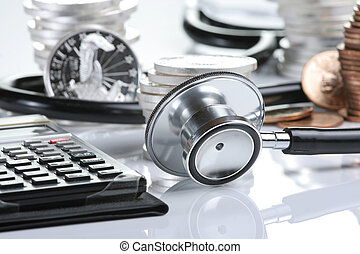 Financial health concept, stethoscope weaving around stacks...