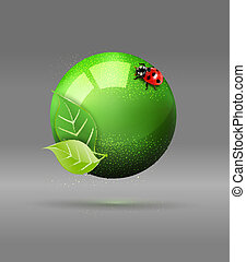 green globe and ladybug