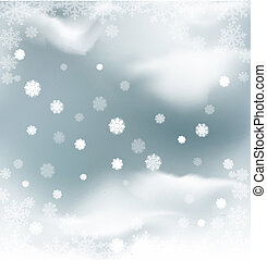 background with flying snow - vector background with flying...