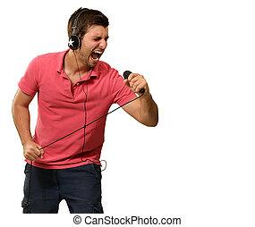 hombre, tenencia, micrófono