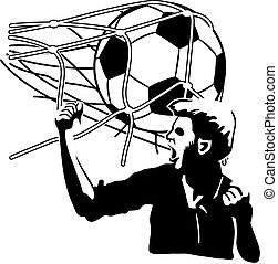 Goal - Football player exulting while the ball inflates the...