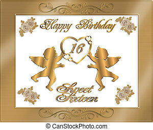 Sweet Sixteen Gold Birthday Invitat - Illustration...