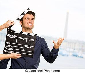 director, Aplaudir, el, badajo, tabla