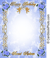 Birthday invitation Sweet 16 Blue - Image and illustration...