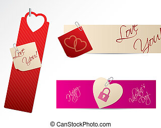 Love banners for Valentine day