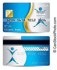 Credit card with gold wave and origami person