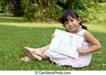 My family - Little child shows drawing of her family member