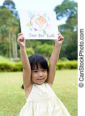 Save the earth - Little kid showing save our earth drawing...