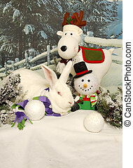White Rabbit with Holiday Friends - A large white rabbit...