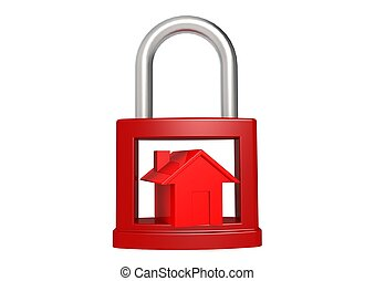Red house in the red padlock - Rendered artwork with white...