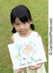 Save our earth - Little kid showing save our earth drawing...