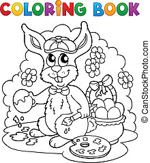 Coloring book rabbit theme 3 - vector illustration.
