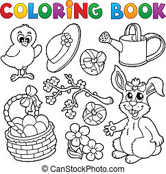 Coloring book with Easter theme 6 - vector illustration.