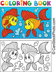 Coloring book with marine animals 8 - vector illustration.