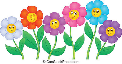 Flower theme image 5 - vector illustration