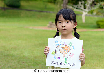 Save the planet - Little kid showing save our earth drawing...