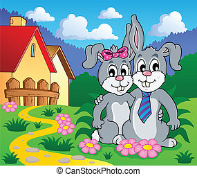 Image with rabbit theme 8 - vector illustration.