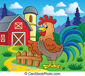 Image with rooster theme 2 - vector illustration.
