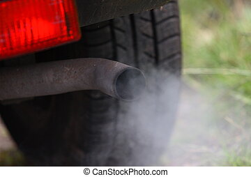 Motor car exhaust pipe fumes - Close up of a car exhaust...