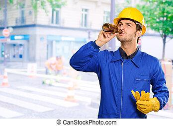 Retrato, sedento, engenheiro