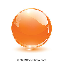 3D crystal sphere orange, vector illustration.