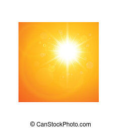 Summer natural background with vector sun