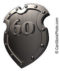 number on metal shield - metal shield with the number sixty...