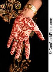 Henna, Mehendi on the bride's hand - Traditional body art...