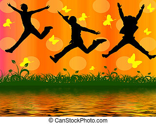 three jumping people