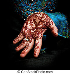 Fun Henna design on a models hand - Traditional body art...