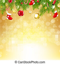 Christmas Gold Background With Bokeh