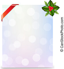 Banner With Red Ribbon And Bokeh With Holly Berry