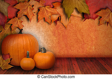 Pumpkin Background with Leaves