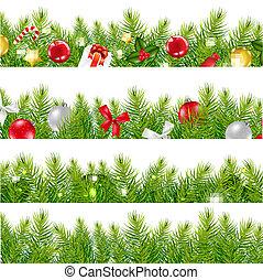 Big Borders Set With Christmas Tree, With Gradient Mesh,...