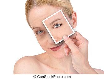 belleza, ojo, Arruga, makeover
