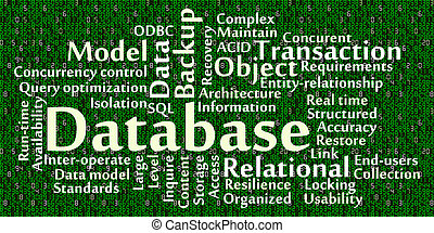 Database word cloud with data background