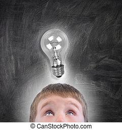 Junge, Licht, Auf, Idee, schauen, zwiebel