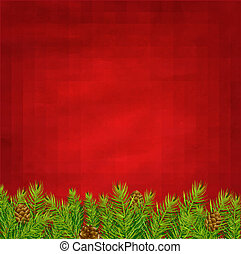 Retro Red Background And Fir Tree With Gradient Mesh, Vector...