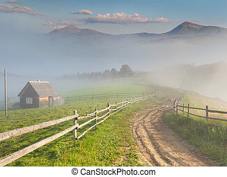 Beautiful summer landscape in a mountain village Foggy...